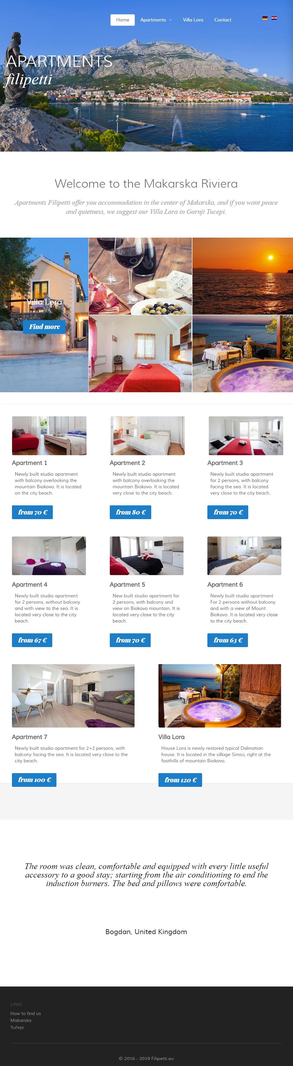 Luketina.com portfolio Apartmani Filipetti Makarska