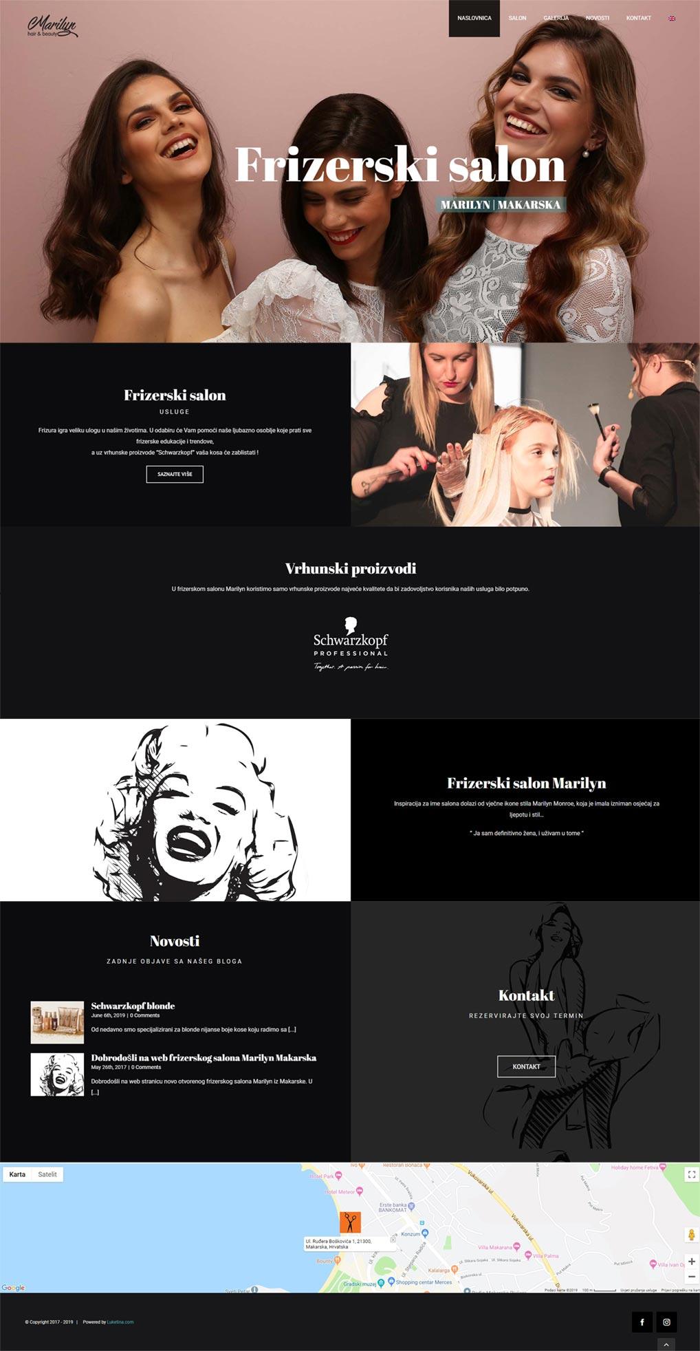 Luketina.com portfolio frizerski salon Marilyn Makarska